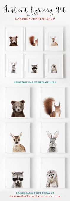 Adorable woodland nursery art prints, just download and print at home in a size you want! This is so easy! I love these baby animals, they are sooo cute! #woodland #nursery #wallart #printables #ad