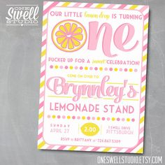 New Our Little Lemon Drop is Turning ONE Pucker Up Lemonade Invitation by oneswellstudio
