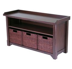 Elegant and versatile, this hall bench with three storage baskets is perfect for your home's entry way or mud room.