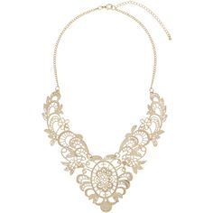 Dorothy Perkins Cream Lace Collar Necklace ($12) ❤ liked on Polyvore featuring jewelry, necklaces, gold, yellow gold chain necklace, dorothy perkins, gold jewelry, cream jewelry and yellow gold necklace