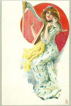 girl in white/blue patterned dress, silhouetted against red background, holds harp, kitten on shoulder, faces left, looks front