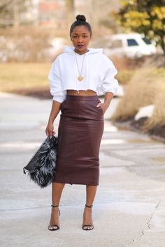 A DIY cropped hoodie and leather pencil skirt. via StyleLust Pages: Take Two