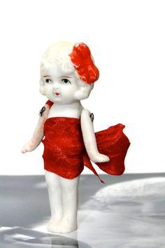 Bisque Doll Frozen Charlotte // Valentine Gift // Red Satin Bow Dress // 1920s Toy Collectible Figurine