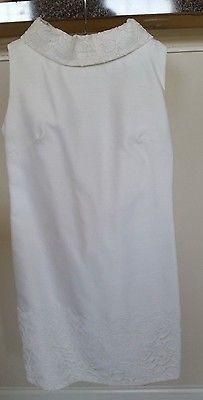 Vintage 60's Short White Wedding Dress Removable Lace Sheath