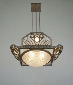 H.FOURNET & DEGUE 1930 chandelier in wrought iron by le fer forgé H.F.  (paravas-ebay)