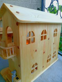 Wooden dollhouse without furniture. Christmas by Allecowood