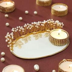 Decorative Tea-light Candle with Stand Diwali Decoration Items, Thali Decoration Ideas, Diwali Decorations At Home, Ganpati Decoration At Home, Stage Decorations, Diwali Candle Holders, Diwali Candles, Diy Candles, Diwali Diya