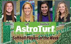 Hartley, Luff, Stanford and Conley Named PBC Softball AstroTurf Players of the Week
