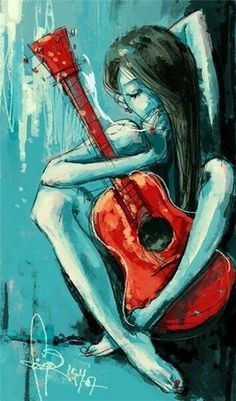 In this post I will show you the new acrylic painting ideas. You can inspire from these simple acrylic painting ideas. If you love acrylic art, come here! Guitar Art, Guitar Drawing, Blue Guitar, Arte Pop, Love Art, Painting & Drawing, Body Painting, Amazing Art, Awesome