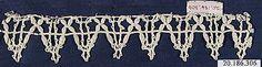 Date:      16th century  Culture:      Italian (Genoa)  Medium:      Bobbin lace  Dimensions:      L. 6 x W. 1 1/4 inches (15.2 x 3.2 cm