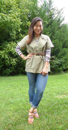 #madewell jacket #hmusa top #bananarepublic jeans #jcrew belt #gap wedges & jewelry #anntaylor #jcrew #f21