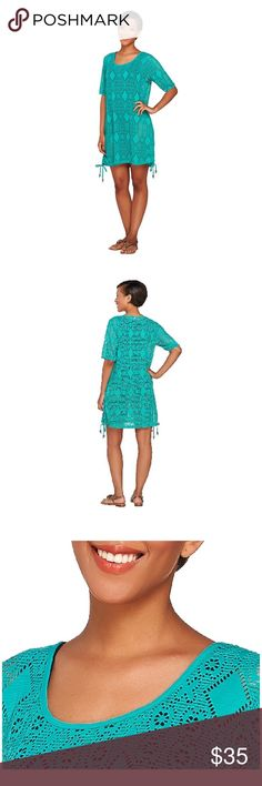 NEW Beach Cover-Up, Knit Open-work, Bright Aqua! This is a brand new, never worn Denim & Co. Beach Knit Open-work Elbow Sleeve Cover-Up in Bright Aqua, size XS.   Life's a beach in this lacy cover-up. An allover open-knit design and side ties add a fun, flirty element to your day by the water. Poolside or seaside, it'll have you basking in style all summer long.  Features: elbow-length sleeves, scoop neck, side ties on hem Fit: relaxed fit, generously cut with maximum wearing ease Content…
