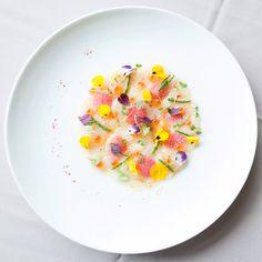 Hokkaido Scallop Carpaccio, Togarashi Vinaigrette, Samphire, Watermelon Radish, Ikura