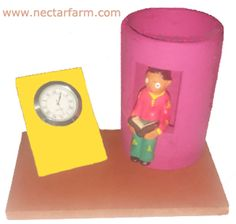 Fancy pen stand with clock Fancy Pens, Candle Stand, Clay Animals, Corporate Gifts, Lampshades, Flower Vases, Terracotta, Clock