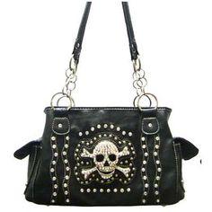 black jeweled skull handbag purse free ship