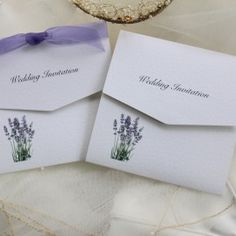 Lavender Tri Fold Wedding Invitations. Shop online at www.daisychaininvites.co.uk