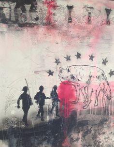 Le veto, série la vie moderne, 89x116, Aurélie Mantillet, NOUS LES PANTINS, acrylique Pochoir et aérosol sur toile, 2012