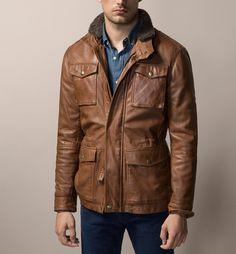 Massimo Dutti Nappa Leather Field Jacket