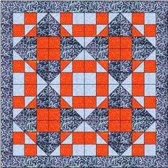 The Straight Furrow quilt block is an easy 9 patch block that can be rotated to form a delightful quilt with diamonds of both dark and light blue