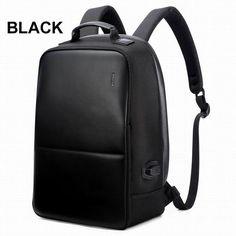 BOPAI Anti Theft Notebook Backpack External USB Port Men Leather Travel Backpack Waterproof Laptop Backpack