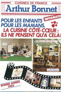 """[ 90 ans de création française  ] En 1985, la marque Arthur Bonnet adopte une communication familiale orientée """"côté-coeur"""" en s'adressant aux mamans et aux enfants. Communication, Creations, Baseball Cards, Children, Communication Illustrations"""