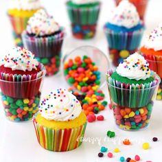 Colorful sprinkle coated Mini Cupcakes in Candy Filled Shot Glasses are the perfect size treats to serve at a kid's party. Each of these small cups is filled with tiny candies and topped with a brightly colored mini cupcake.