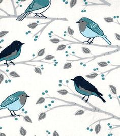 Keepsake Calico Fabric - Birds On A Branch Blue, Beige, White