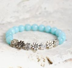 Beaded Stretch Bracelet, Beaded Bracelet, Amazonite Bracelet, Beaded Bracelets for Women, Gemstone Bracelet, Stacking Bracelet, Boho Jewelry by FreeSpiritsStudio on Etsy https://www.etsy.com/listing/536438547/beaded-stretch-bracelet-beaded-bracelet