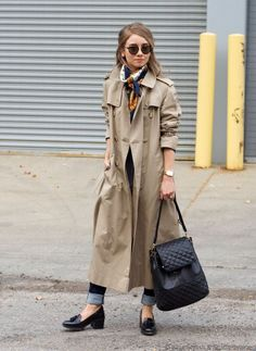 Oversized trench coat, silk medallion scarf, black topshop loafers, quilted backpack