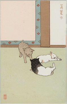 Art, Ukiyoe, Woodblock Print, Japan, Animal, Cat