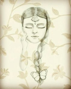 Illustration Indian girl Pencil and digital texture