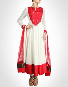 White and red ankle length anarkali.SHOP NOW@ www.kimaya.in