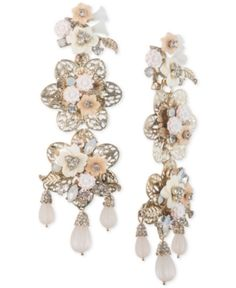 30ccfa927d6 Marchesa Gold-Tone Bead & Flower Drop Earrings Jewelry & Watches - Fashion  Jewelry - Macy's
