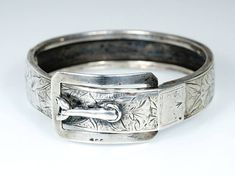 Antique French Victorian Silver Buckle Bracelet