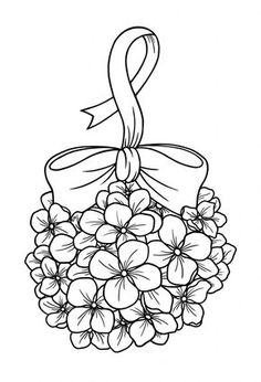 Hydrangea Bauble Free Digi - BearyWishes - Maria Home Digi Stamps Free, Parchment Craft, Coloring Book Pages, Copics, Craft Patterns, Free Coloring, Embroidery Patterns, Ribbon Embroidery, Machine Embroidery
