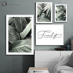 Tropical Plant Leaf Canvas Poster Nordic Botanical Wall Art Print Scandinavian Home Decoration Picture Painting Family Quotes Leaf Wall Art, Mural Wall Art, Abstract Wall Art, Wall Art Prints, Dyi, Diy Décoration, Dining Room Wall Art, Kids Room Wall Art, Canvas Poster