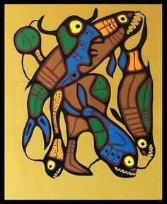 >>> Norval Morrisseau Facts, Articles & Art: METAMORPHOSIS - Norval Morrisseau - 1980s Woodlands School, Woodland Art, Native American Artists, Canadian Art, Indigenous Art, Aboriginal Art, Totems, My Heritage, Native Art