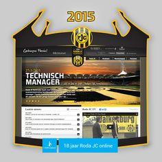 Screen www.rodajc.nl anno 2015.  De huidige website van Roda J.C. is alweer enige jaren oud. Achter de schermen werken de mensen van i-Minded reeds aan een nieuwe website die de club online weer in de top positioneert.  Loyaliteit komt het best tot uiting in slechte tijden. i-Minded is zowel als business partner en als fan loyaal aan de club, ook in de sportief mindere fase van geel-zwart.  Roda ! Los mer Joa!