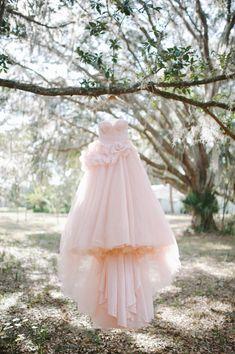 Pink wedding dress.