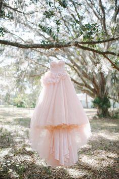 Pink wedding dress.