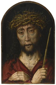 Workshop of Albrecht Bouts (Leuwen circa 1452/5 - 1549 Place Unknown), Ecce Homo, oil on oak panel, rounded top, 41.7 x 27.3 cm.; 16 3/8  x 10 3/4  in.