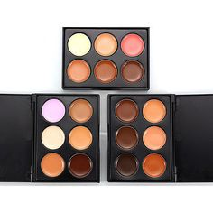 6 Colors Contour Face Cream Makeup Concealer Palette + Powder Brush Set TMPG