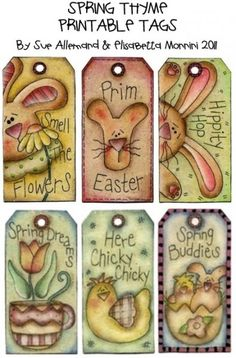"Easter Bunny/Chick Printable Tags.: ""Picture only here, you can print from this, so cute! M."