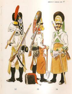 Spanish; Line Infantry, Sappers, 1808. L to R Zamora Regt, Guadalajara Regt & Asturias Regt