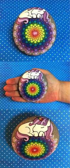 """Rainbow Unicorn Mandala Stone by Kimberly Vallee: Hand painted with acrylic and protected with a matt finish, this unique designed """"XL"""" stone is larger than my usual stones, at over 4"""" diameter. It is one-of-a-kind.:"""