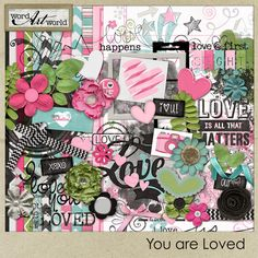 """You Are Loved"" is a beautiful digital scrapbooking page kit created by Word Art World, which features a set of 12 high-quality patterned and solid digital papers, each saved as individual . Scrapbooking Freebies, Digital Scrapbooking Layouts, Picture Templates, Bullet Journal Notebook, Digital Scrapbook Paper, Kit, Love Is All, Art World, Word Art"