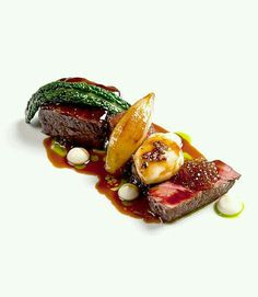 Fillet and Short Rib of Beef with Beer Glazed Onions and Smoked Bone Marrow