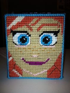 Plastic canvas tissue box side #2- Anna from Disney's Frozen.
