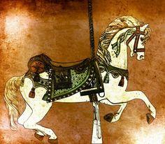 Carousel Horse in Browns by Patty Vicknair in OriginalDigitalArt on Patty Sue O'Hair Vicknair = PSOVART's Store