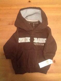 NWT Eddie Bauer Boys Sz 12 Mo Full Zip Brown Logo Hoodie Long Sleeve #EddieBauer #Everyday